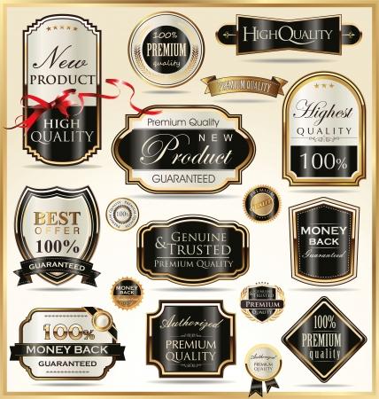 shinning: Etiquetas de oro de lujo Vectores