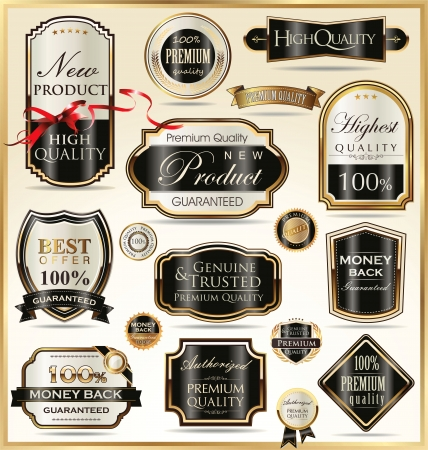 exclusive icon: Luxury golden labels Illustration