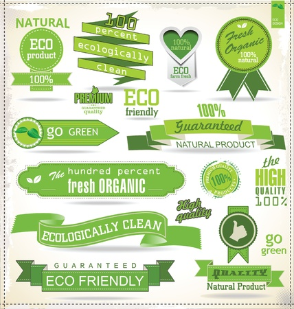 organic farm: Eco and bio labels and badges Illustration