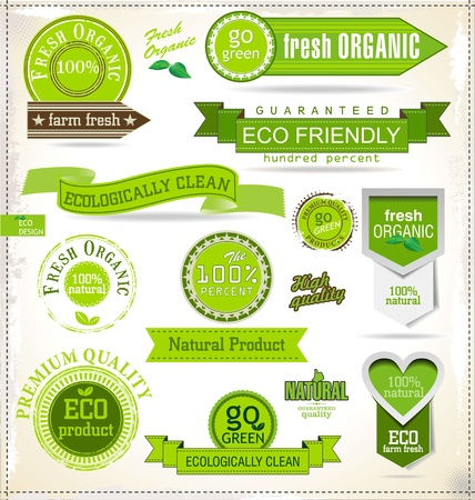 Eco and bio labels and badges Vector