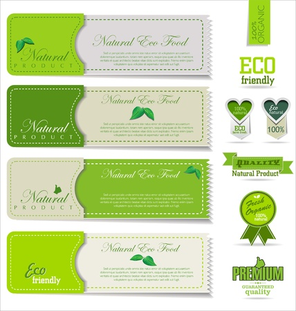 organic plants: Eco and bio labels and badges Illustration