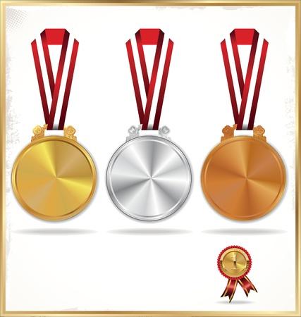 Medaillen - Gold, Silber und Bronze Vektorgrafik