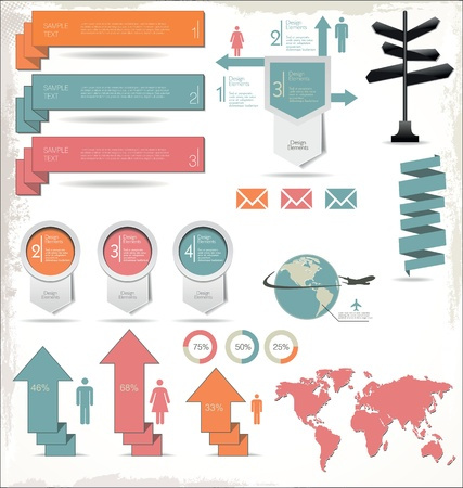 Retro Color Infographics Elements Vector