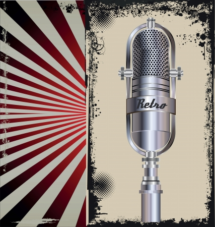 Grunge poster with microphone Vector