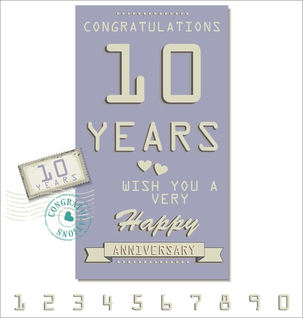 50 to 60: Template of anniversary, jubilee or birthday card retro style Illustration