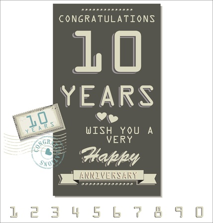 Template of anniversary, jubilee or birthday card retro style Vector
