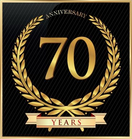 70: Anniversary or jubilee golden laurel wreath