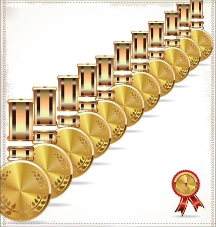 Gold medal background Vector