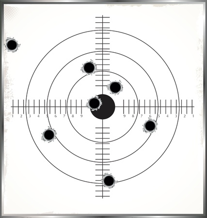 sniper training: Target with bullet holes Illustration