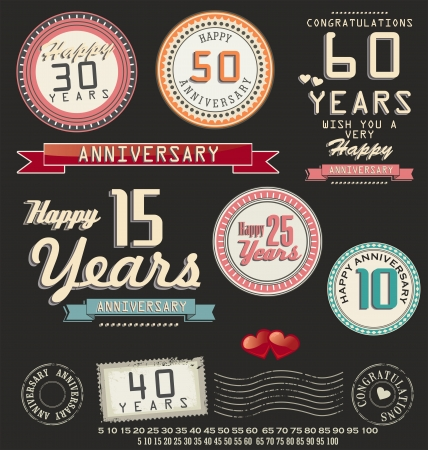 sport celebration: Anniversary retro labels