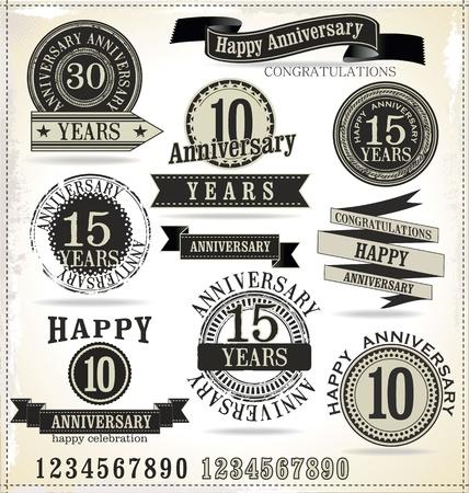 anniversaire mariage: ?tiquettes d'anniversaire Illustration