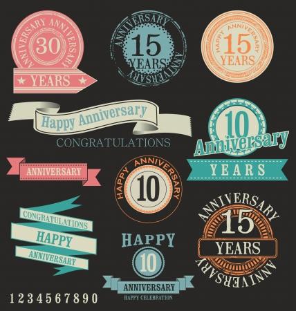 aniversario: Etiquetas Aniversario Vectores