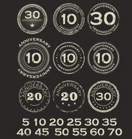 Anniversary retro stamps Vector