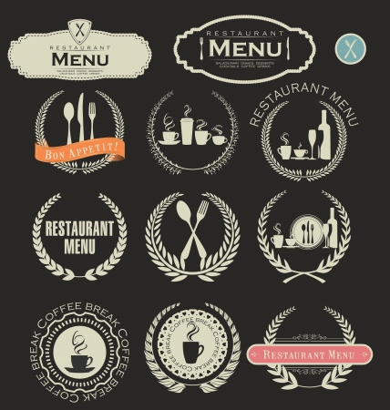 vintage cafe: Restaurant and cafe labels