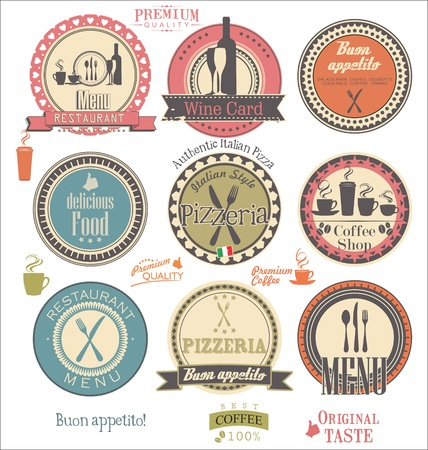 Restaurant and cafe retro labels Vector