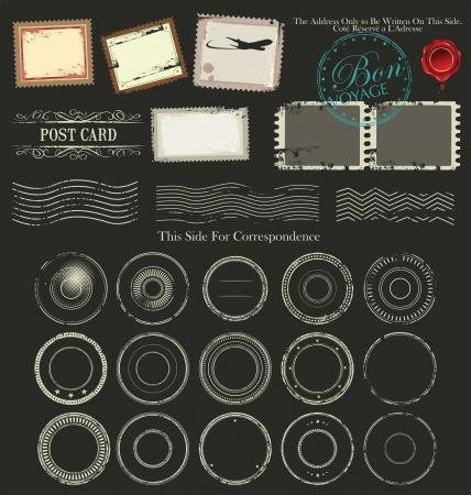 post stamp: Set di timbro postale simboli illustrazione Vettoriali