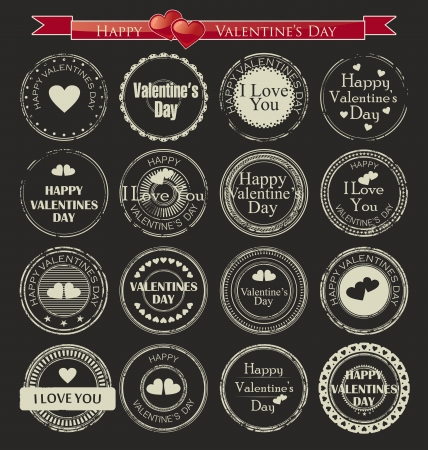 Set of vintage valentine s day love stamp Vector
