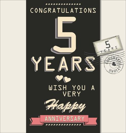 90 years: Template of anniversary, jubilee or birthday card retro style Illustration