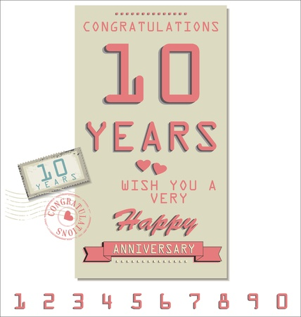 60 70: Template of anniversary, jubilee or birthday card retro style Illustration