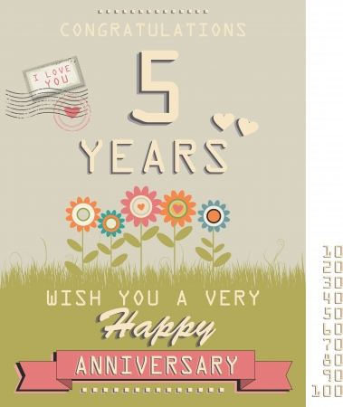 Template of anniversary, jubilee or birthday card retro style