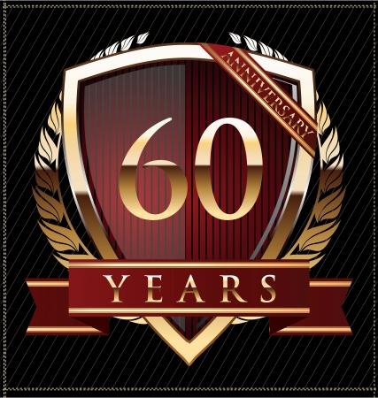 60 years anniversary golden label Stock Vector - 19511032