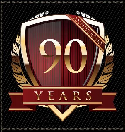 90 years anniversary golden label Stock Vector - 19511027