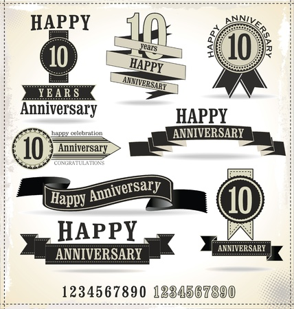 10 years: Anniversary labels in retro style