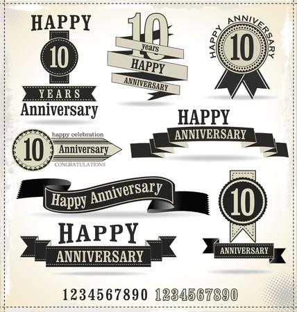 aniversario: Etiquetas aniversario con estilo retro