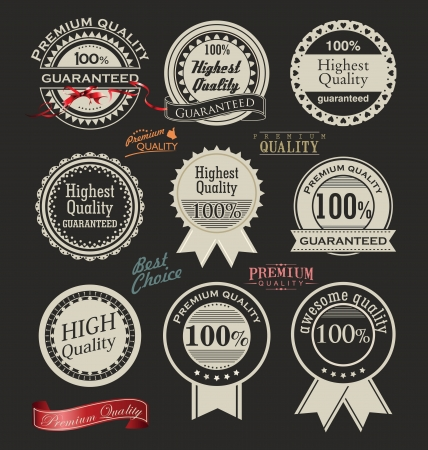certificate seal: Collection of Premium Quality retro vintage styled design Illustration