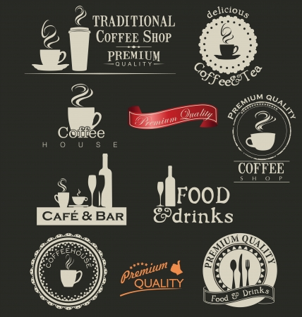 dining set: Retro coffee and restaurant labels Illustration