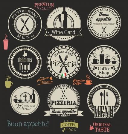 pizzeria label: Restaurant and cafe retro labels