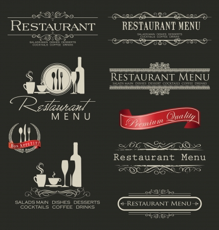 meat  grinder: Retro vintage style restaurant menu designs Illustration
