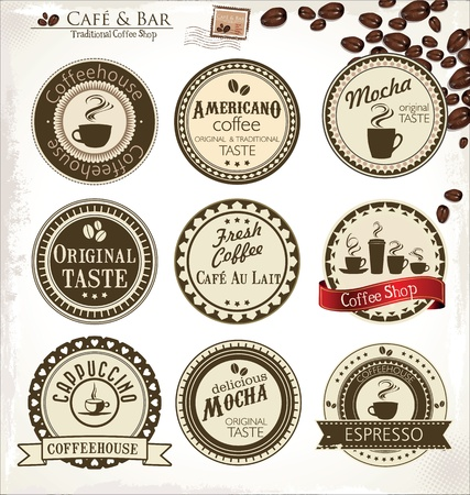 coffee beans isolated: Retro Coffee badges and labels