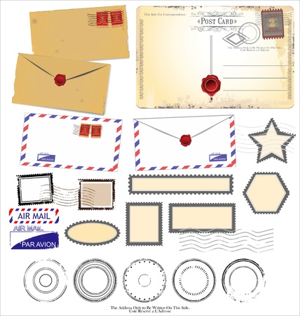 airmail: Vintage postcard designs and postage elements Illustration