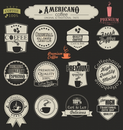 barista: Set van retro koffie labels