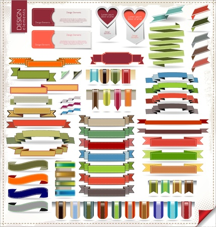 Retro ribbons and labels Stock Vector - 19511054