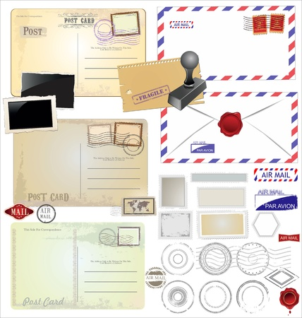 air mail: Vintage postcard designs and postage elements Illustration