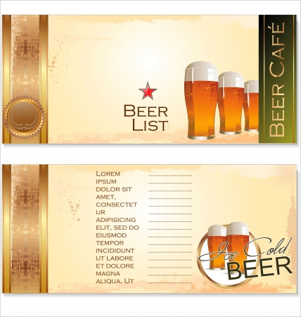 pub food: Menu list for beer