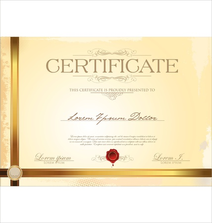 diploma border: Certificate template Illustration