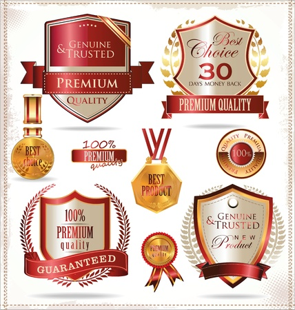 premium quality: Quality gold andred  labels Illustration