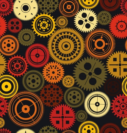 cooperate: Seamless vector gear and cogwheel retro color background