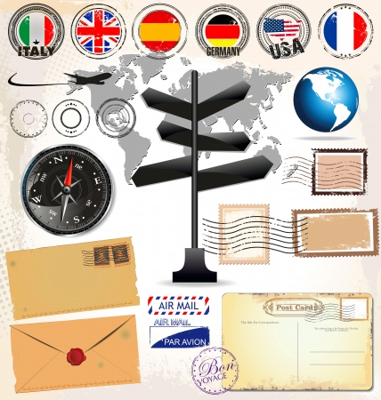 france stamp: Travel signs and elements