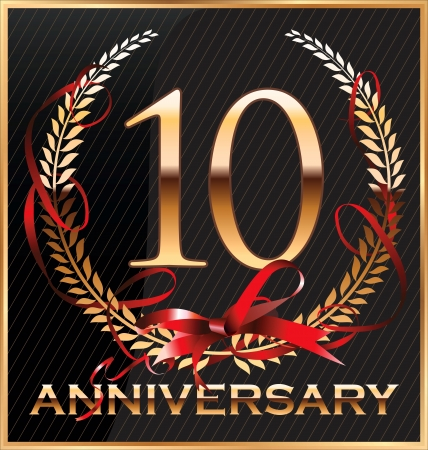 10th: Anniversary golden label with ribbon and Laurel wreath