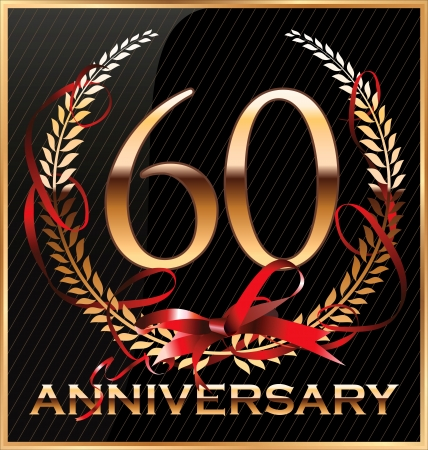 60 years: Anniversary golden label with ribbon and Laurel wreath