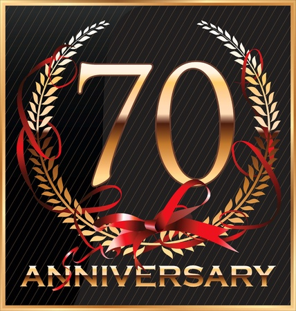 70 years: Anniversary golden label with ribbon and Laurel wreath