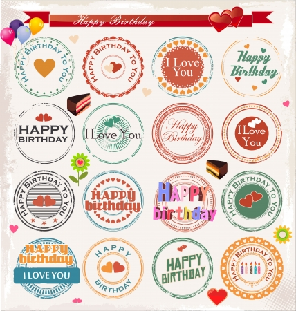 Happy birthday stamp collection Vector