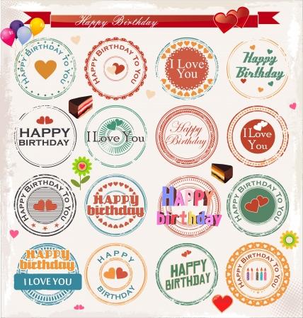 retro badge: Happy birthday stamp collection