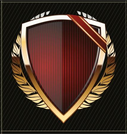 escudo de armas: Escudos de oro con corona de laurel