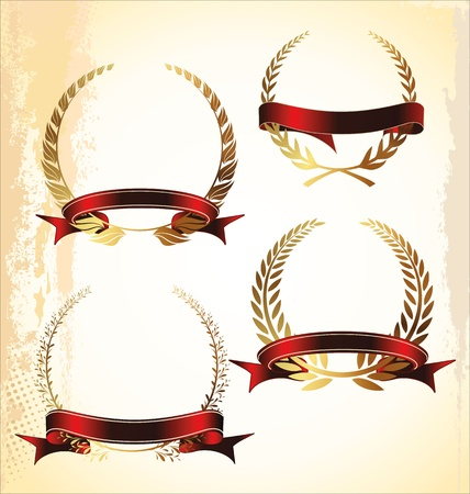 Laurel wreath with red ribbon set Vector