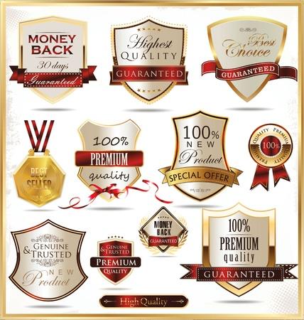 quality guarantee: Luxury golden shields Illustration